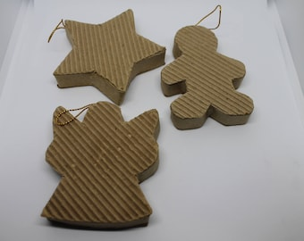 Blank Ornaments - Corrugated Cardboard - Destash