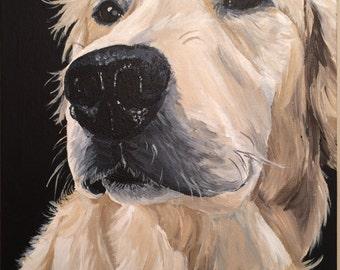 Golden retriever art print, from original Golden Retriever painting, Golden Retriever print, Retriever dog art