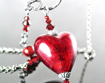 Red Heart Necklace, Murano Glass Necklace, Sterling Silver Necklace Venetian Glass Ruby Red Heart Pendant Mother's Day Valentine's Day Gift