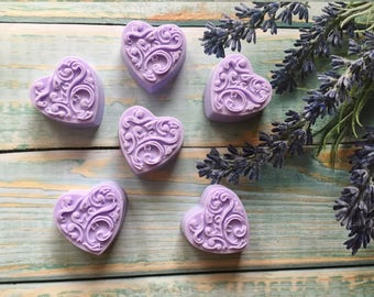 Set of 6 Lavender soaps 6 pack Mini Guest Soaps 6 Baby shower soap favors 6 Mini hearts Heart shaped soap From my shower to yours Mini soaps