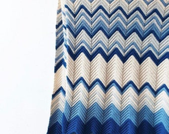 Zig zag blue and cream Afghan throw blanket