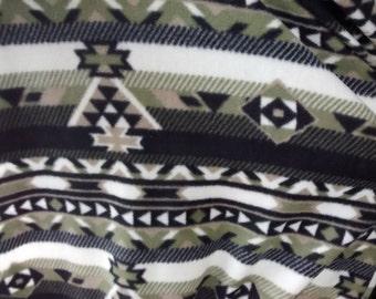 Free Shipping,Native American Indian Aztec Navajo fleece fabric on black/Green