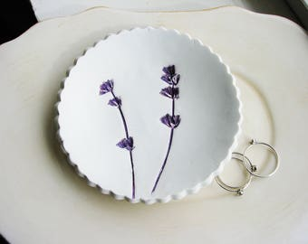 Lavender Ring Dish, Purple Ring Dish, Floral Catchall, Botanical Ring Dish, Clay Dish, Clay Ring Dish, Jewelry Dish