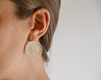 long crochet hoop modern earrings