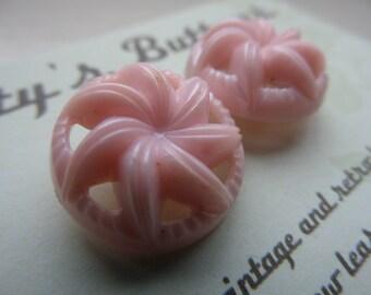 Vintage Buttons - pink plastic