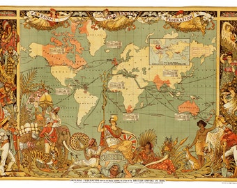 World Map of the British Empire 1886 - Print Poster
