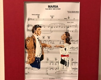 Maria sheet music painting w/ frame