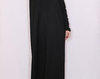 SALE Black maxi dress Loose fit dress Women maxi dress with sleeves