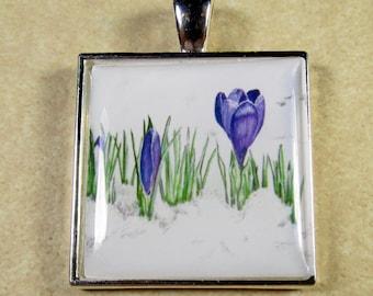 Purple Crocus Pendant, Purple Crocus Necklace, Purple Crocus Jewelry, Crocus Gifts, Crocus Wedding Jewelry, Crocus Bridesmaids Gifts