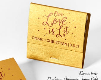 Our Love Is Lit w/ Polka Dots Matchbooks - Wedding Favor, Wedding Matches, Wedding Decor, Personalized Matches, Custom Matchbook, Engagement