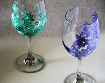 Multi-Color Flower Wine Glass