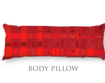 Red & Black Bed Pillow-Fleece Sleeping Pillow-Bed Pillow Cover-Red Body Pillow-Microfiber Pillow Cover-Bed Bolster-Fleece Body Pillow