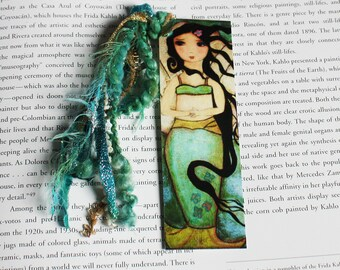 Venus Mermaid - Laminated Bookmark  Handmade - Original Art by FLOR LARIOS