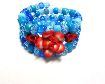 Blue Day of the Dead Bracelet Red Sugar Skull Jewelry