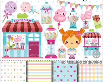 Candy Shop Clipart, 80%OFF, Candy Graphics, COMMERCIAL USE, Candy Shop Graphics, Candy Clipart, Planner Accessories, Sweet Shop