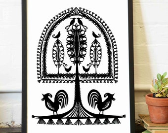 Archival print, Tree of Life series, Leluja VI - Polish paper-cutting, Hand cut, wycinanki, Polish folk art, black tree