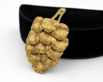 Brass Dress Clip with Leaf Design, 1930s