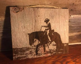 Cowboy and Horse Barn Wood Plaque
