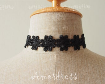 Choker Necklace Black Floral Lace Choker Necklace Marie Antoinette Style Victorian Chic