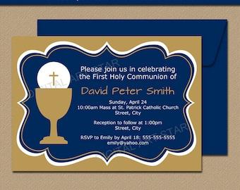 Printable First Communion Invitations - EDITABLE First Communion Invitation Template - Digital Gold & Navy Invitations - Unique Invitations