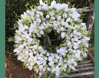 ALMOST GONE!  Spring Wreath, Summer Wreath, Tulip Wreath, Greenery Tulip Wreath, Round, Square, Oval Wreath,