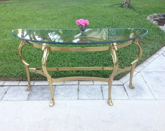 ITALIAN BRASS SEAHORSE Console / Italian Brass Demilune Console with beveled glass top / Hollywood Regency Style at Retro Daisy Girl