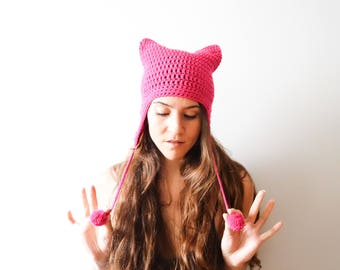 Pink Pussyhat // women's rights // Planned parenthood donation // Runaways hat // Cat hat costume // Earflap hat // Nasty Woman