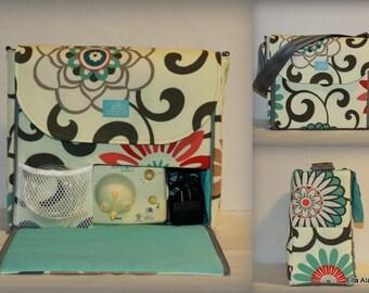 XS Alana style Breast Pump Bag in Pom Pom Play Peachtini print