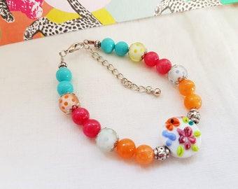 Bracelet romantique, chic  et coloré, perles pierres fines, nacre et verre filé, Turquoise, rose, orange, cadeau femme, fête des mères,