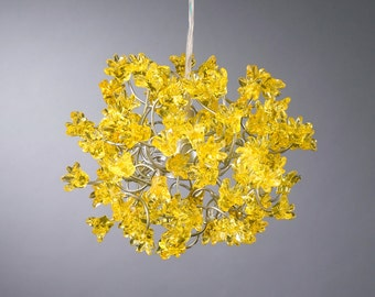 Yellow flowers Hanging Lights for hall, bathroom, bedside lamp. light fixture. ceiling light. children lights - unique pendant lights.