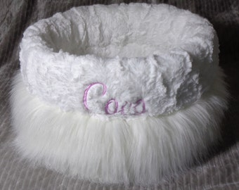 Cuddle Cup Dog Bed - Luxurious Faux Fur - Dog Beds - Cat Beds - Embroidery Included