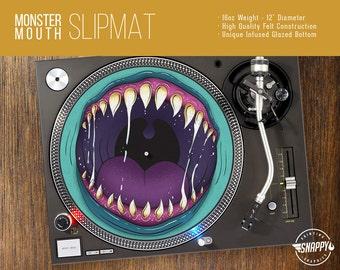 "Monster Mouth Turntable Slipmat - 12"" LP Record Player DJ Pad - 16oz Felt w/ Glazed Bottom"