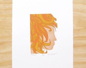 "Woodblock Print - ""Autumn"" - Woman Head Face - Seasons - Art Printmaking"