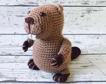 Mr. Beaver, Crochet Beaver Stuffed Animal, Beaver Amigurumi, Plush Animal, MADE TO ORDER