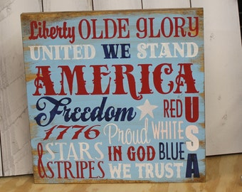 4th of July Subway Style Sign/Americana Sign/Holiday Decor/Red/White/Blue/July Decor/Wood Sign/Hand Painted