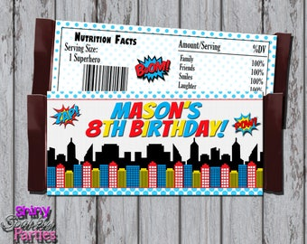 SUPERHERO CANDY Bar WRAPPERS - Superhero Birthday Party - Superhero Party - Superhero Party Favors - Superhero Candy Wrappers - Candy Wraps