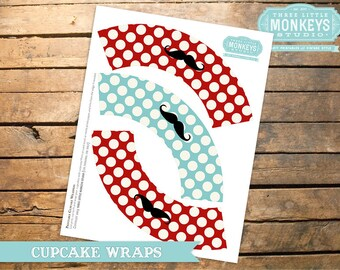 INSTANT DOWNLOAD Little Man Mustache Cupcake Wrappers