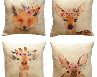 Woodland Kinderzimmer Kissen - Kissen 16 x 16 - Hase, Giraffe, Reh, Fuchs - Kinderzimmer Kissen - Animal-Prints - Baby-Mädchen-Kinderzimmer-Dekor - Tier
