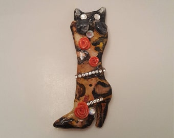 Black Cat Leopard Boot Brooch