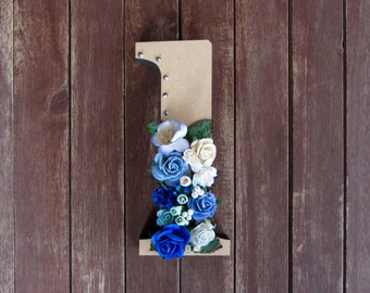 Floral Decorated Wooden Letter - lowercase l / wall nursery birthday wedding office decor