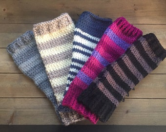 Knitted arm warmers, fingerless gloves