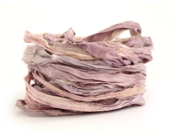 Recycled sari silk ribbon handdyed in Buddleia, 10metre length, textile arts, jewellery making, bouquet wrap, rose quartz pink, lilac purple