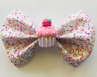 Sprinkle cupcake Bow
