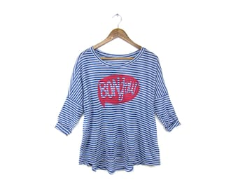 SAMPLE SALE Bonjour 3/4 Sleeve Tee - Oversized Boxy Scoop Neck Tunic T-Shirt in Blue and White Stripe - Women's Xs XL