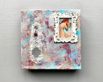 Art Nouveau, Alphonse Mucha Inspired, Canvas, Mixed Media, Blue, Silver, White