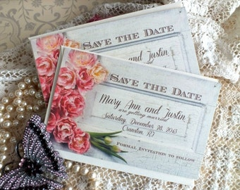 Vintage Romantic Save the Date Cards Handmade by avintageobsession on etsy