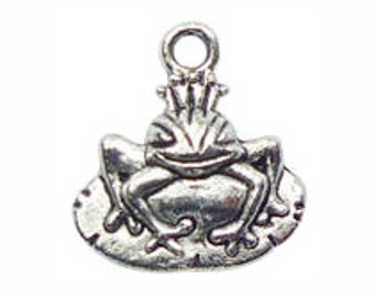 12 Fairy Tail Silver Frog Prince Charm Pendant 18x13mm by TIJC SP0308
