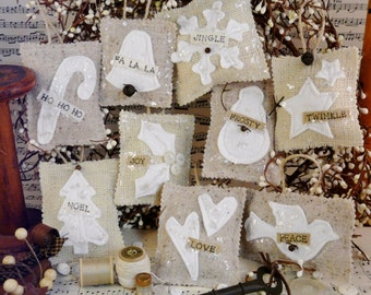 French Country burlap Christmas ornaments PDF Pattern - prim ornie tweed wool felt fabric scraps shabby chic primitive