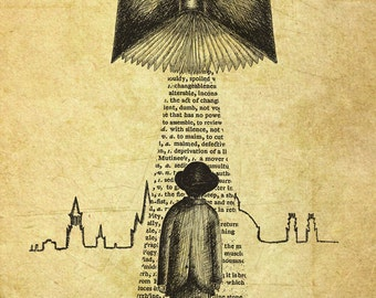 Take Me To Your Reader- A3 art print by Jon Turner- surreal literary pen and ink artwork