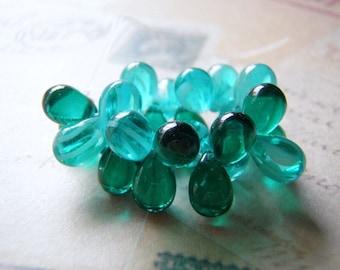 Aqua and Emerald Green Teardrop Beads 9x6mm Top Drilled 10 Beads